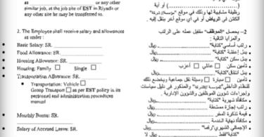 نموذج عقد عمل سعودي 2020 عربي انجليزي مختصر وبسيط