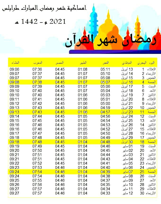 Pdf امساكية شهر رمضان الكريم 2021 1442 أخبار أخرى